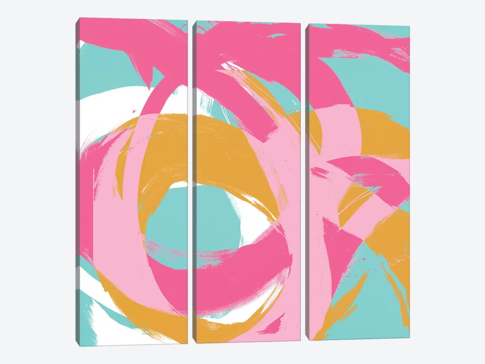 Pink Circular Strokes I by Megan Morris 3-piece Canvas Art
