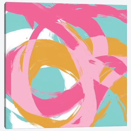 Pink Circular Strokes I Canvas Print #MMS4} by Megan Morris Canvas Art