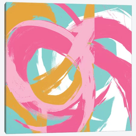 Pink Circular Strokes II Canvas Print #MMS5} by Megan Morris Canvas Art