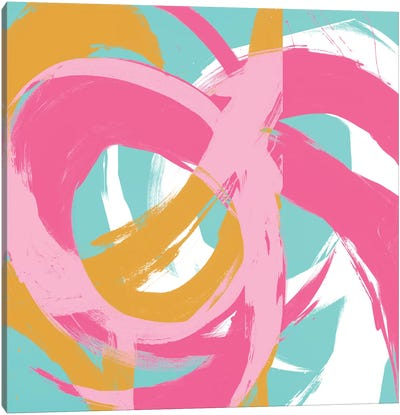 Pink Circular Strokes II Canvas Art Print