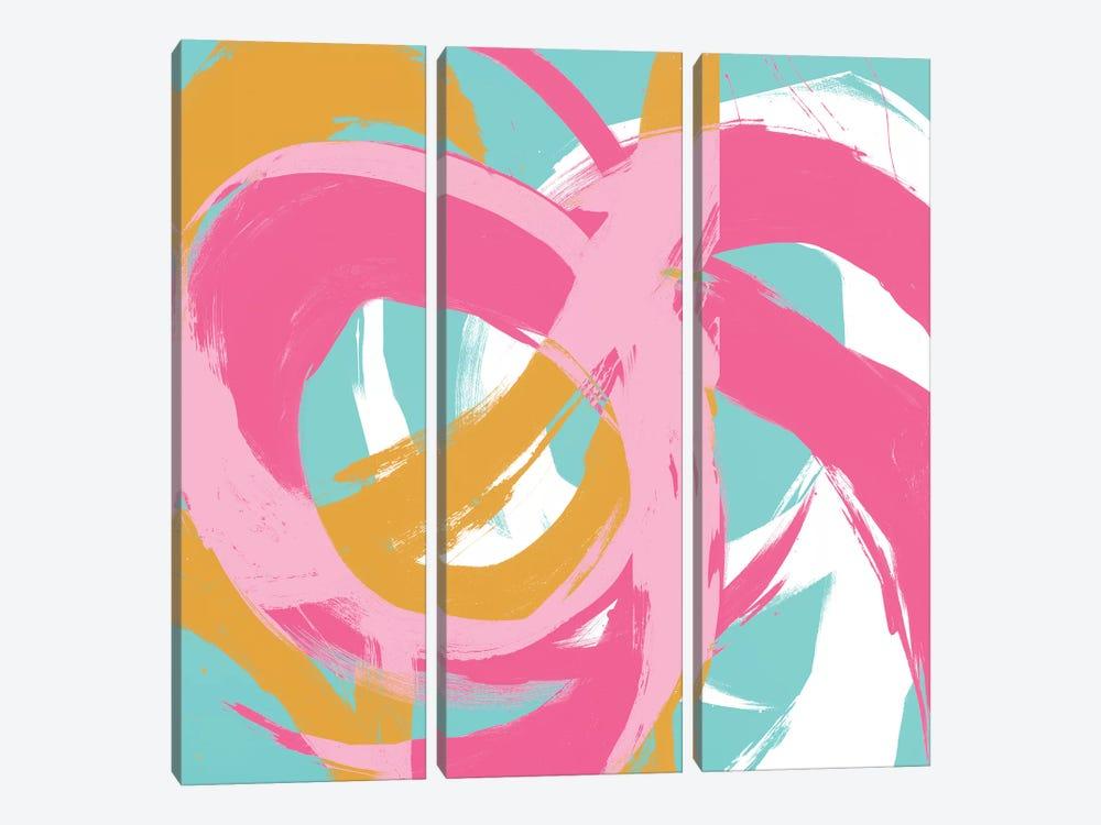 Pink Circular Strokes II by Megan Morris 3-piece Canvas Art Print