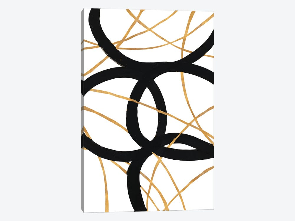Black and Gold Stroke I by Megan Morris 1-piece Canvas Art Print