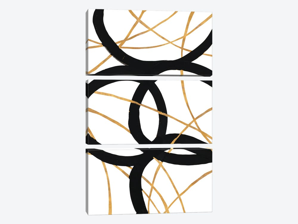 Black and Gold Stroke I by Megan Morris 3-piece Art Print
