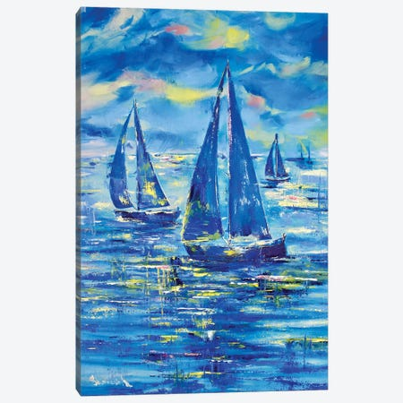 Night Regatta Canvas Print #MNA11} by Marianna Shakhova Canvas Art Print
