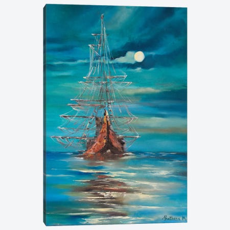 Sea By Night Canvas Print #MNA19} by MARIANNA SHAKHOVA Canvas Art Print