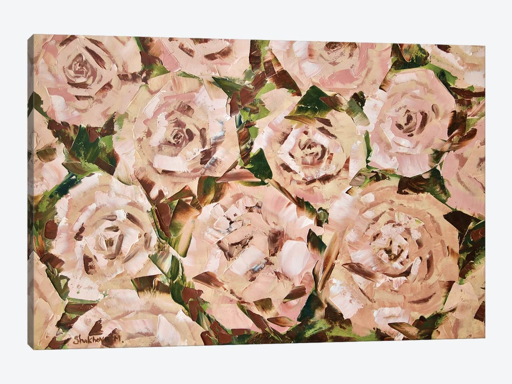 Tea Roses by MARIANNA SHAKHOVA 1-piece Canvas Art
