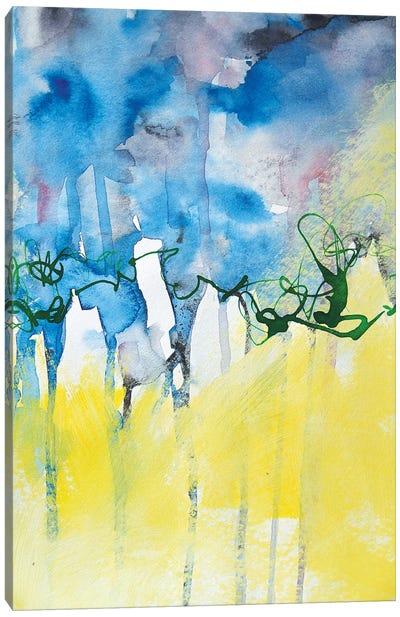 Yellow Meet Blue Canvas Art Print