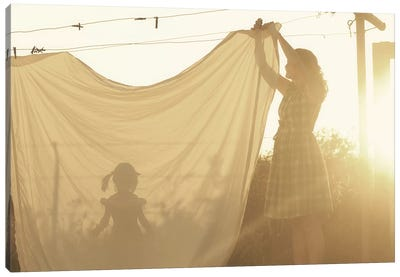 Autumn Shadow Clothesline Canvas Art Print