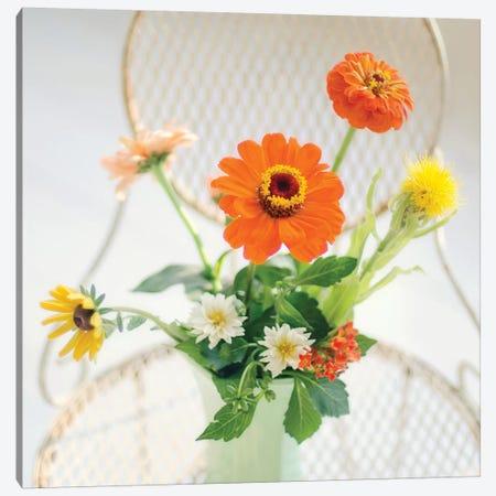 Orange Flowers On Iron Chair Canvas Print #MND40} by Mandy Lynne Canvas Art Print