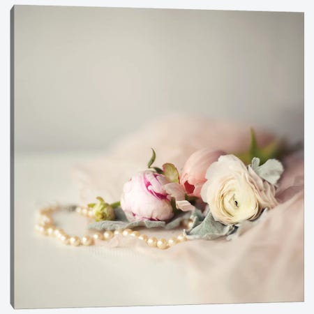 Pearls & Flowers 3-Piece Canvas #MND41} by Mandy Lynne Canvas Art Print