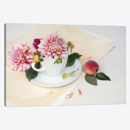 Pink Dahlia Still Life 3-Piece Canvas #MND44} by Mandy Lynne Canvas Artwork