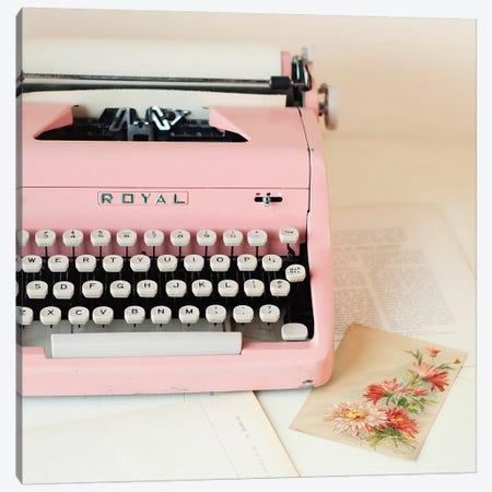 Pink Typewriter Crop Canvas Print #MND49} by Mandy Lynne Canvas Art Print