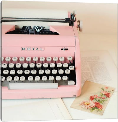 Pink Typewriter Crop Canvas Art Print