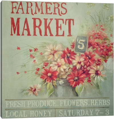 Red Farmers Market Canvas Art Print