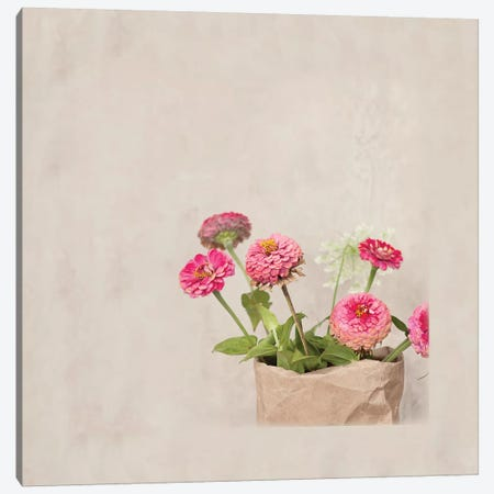 Zinnia's In Paper Bag Canvas Print #MND69} by Mandy Lynne Canvas Art Print