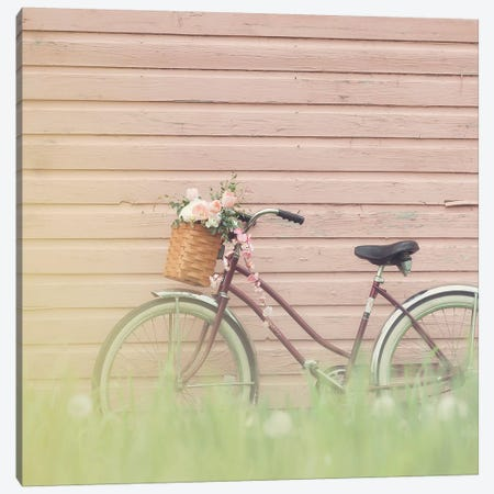 Bike & Pink Wall Canvas Print #MND6} by Mandy Lynne Canvas Print