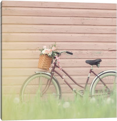 Bike & Pink Wall Canvas Art Print