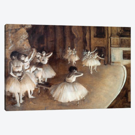 Repetition of a ballet on stage Canvas Print #MNE13} by Edgar Degas Art Print