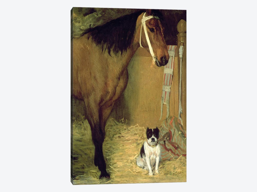 At the Stable, Horse and Dog, c.1862 by Edgar Degas 1-piece Canvas Art