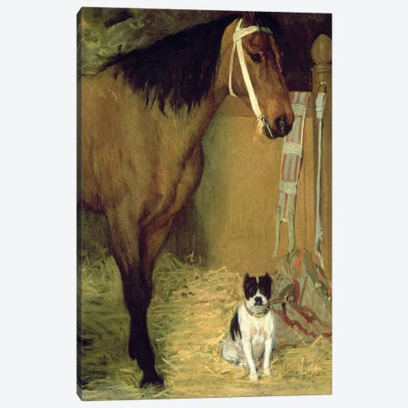 At the Stable, Horse and Dog, c.1862 Canvas Print #MNE19} by Edgar Degas Canvas Print