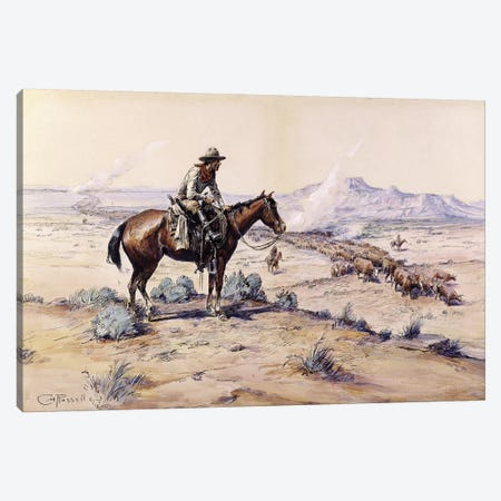The Trail Boss Canvas Print #MNE25} by Charles Marion Russell Canvas Art Print