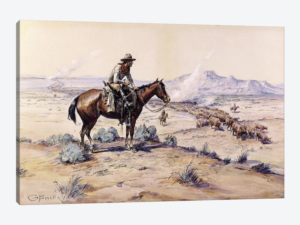 The Trail Boss by Charles Marion Russell 1-piece Canvas Print