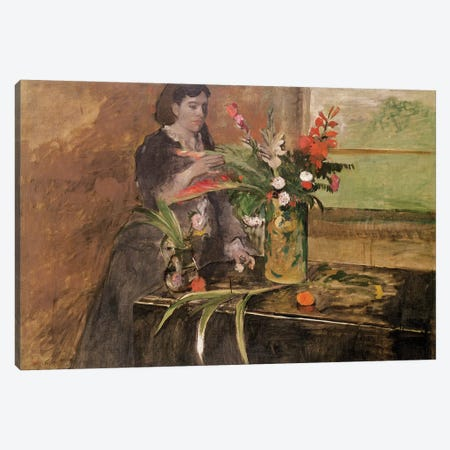 Young woman arranging flowers, 1872 Canvas Print #MNE27} by Edgar Degas Canvas Art Print