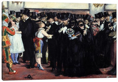 Ball mask at the Opera Men in costume and top and women disguises during the carnival Canvas Art Print