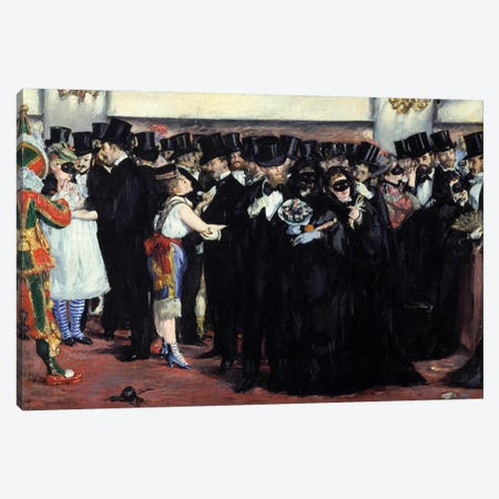Ball mask at the Opera Men in costume and top and women disguises during the carnival Canvas Print #MNE28} by Edouard Manet Canvas Wall Art