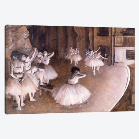 Ballet Rehearsal on the Stage, 1874 Canvas Print #MNE45} by Edgar Degas Art Print