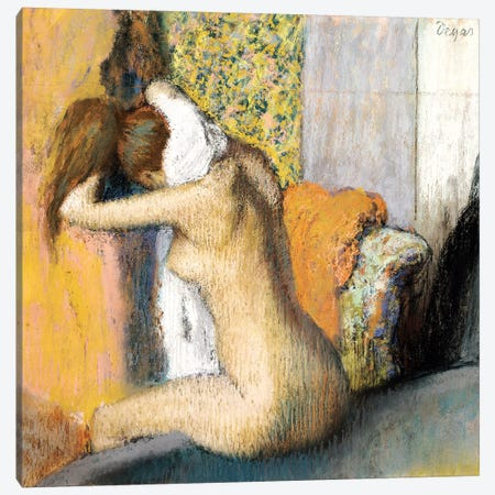 After the Bath, Woman Drying her Neck, 1898 Canvas Print #MNE53} by Edgar Degas Canvas Art Print