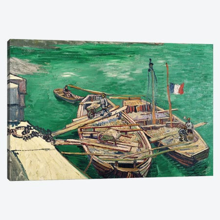 Landing Stage with Boats, 1888 Canvas Print #MNE57} by Vincent van Gogh Canvas Wall Art