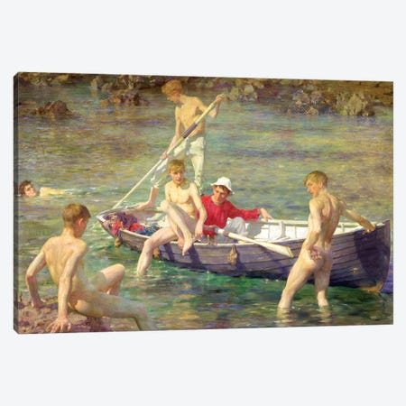 Ruby, Gold, And Malachite Canvas Print #MNE62} by Henry Scott Tuke Canvas Art