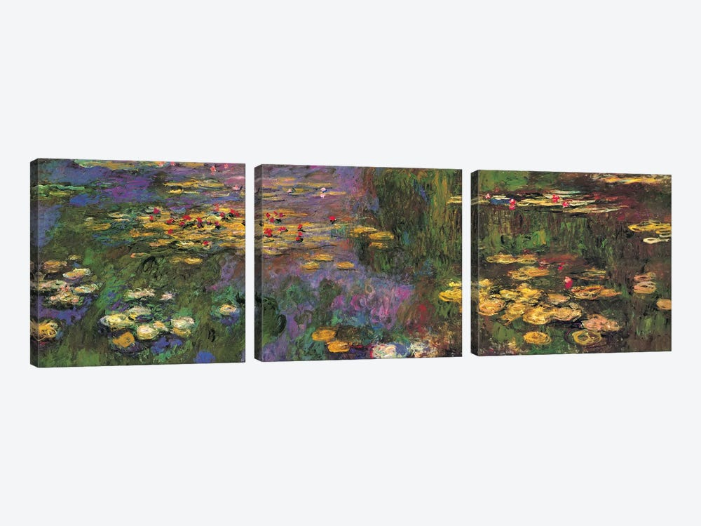 Water Lilies by Claude Monet 3-piece Canvas Art