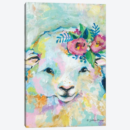 Happy Sheep Canvas Print #MNG101} by Jessica Mingo Canvas Wall Art