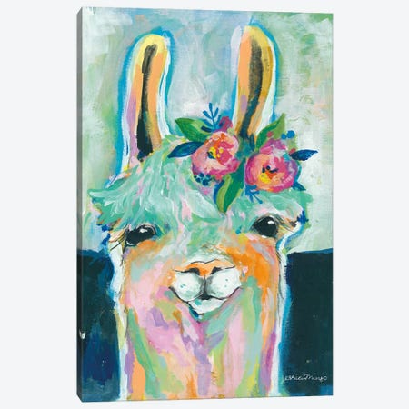 Happy Llama Canvas Print #MNG102} by Jessica Mingo Canvas Wall Art