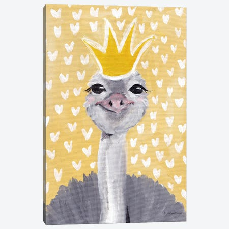 Princess Ostrich Canvas Print #MNG114} by Jessica Mingo Canvas Artwork