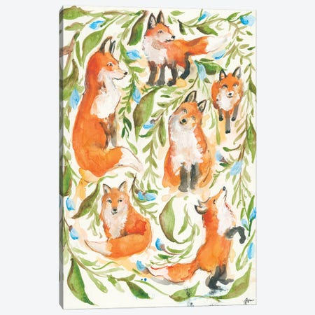 Fox Trot Canvas Print #MNG23} by Jessica Mingo Canvas Artwork