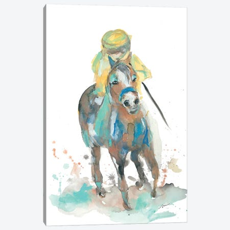 A Jockey and His Horse Canvas Print #MNG34} by Jessica Mingo Canvas Wall Art