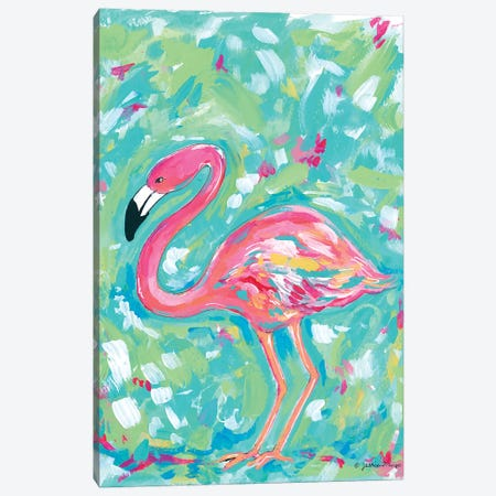 Summer Flamingo Canvas Print #MNG43} by Jessica Mingo Canvas Wall Art