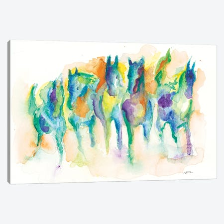 Watercolor Horses Canvas Print #MNG48} by Jessica Mingo Canvas Wall Art