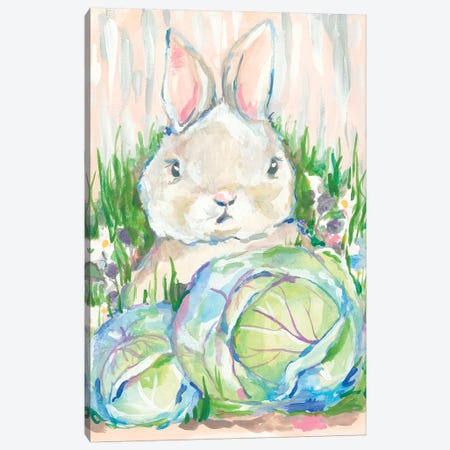 Bunny in the Cabbage Patch      Canvas Print #MNG53} by Jessica Mingo Art Print