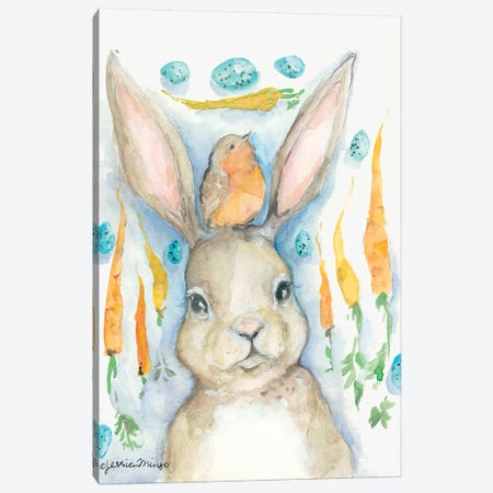 Rabbits and Carrots Oh My     Canvas Print #MNG63} by Jessica Mingo Canvas Artwork