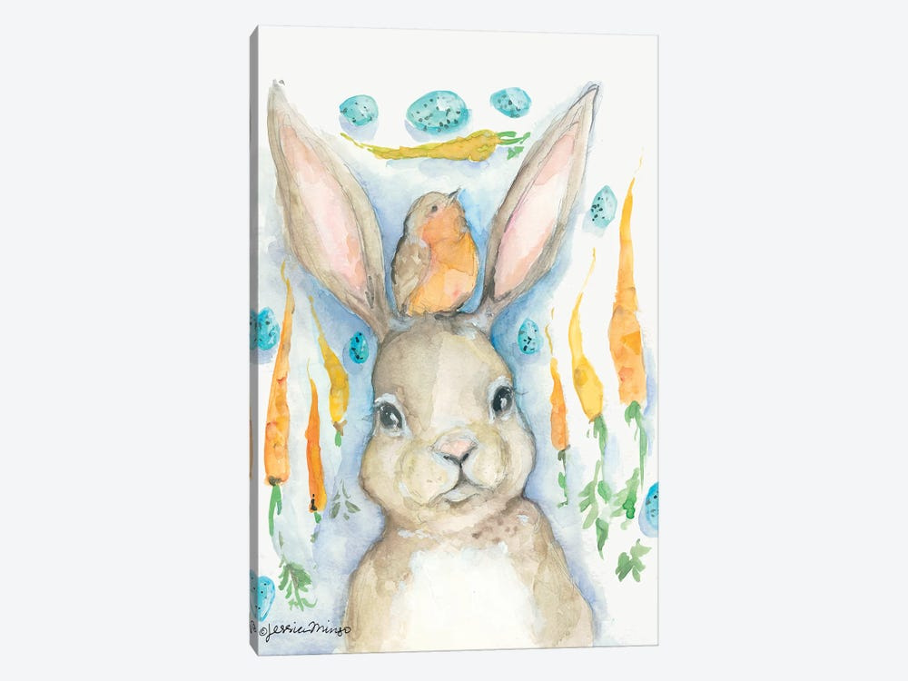 Rabbits and Carrots Oh My     by Jessica Mingo 1-piece Canvas Artwork