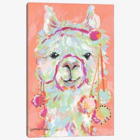 Llama Love Canvas Print #MNG6} by Jessica Mingo Canvas Art