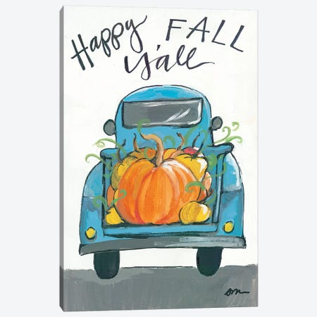 Happy Fall Y'all Truck Canvas Print #MNG82} by Jessica Mingo Canvas Artwork