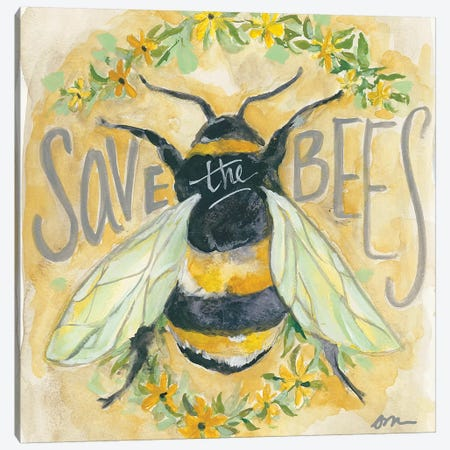 Save The Bees Canvas Print #MNG96} by Jessica Mingo Canvas Wall Art