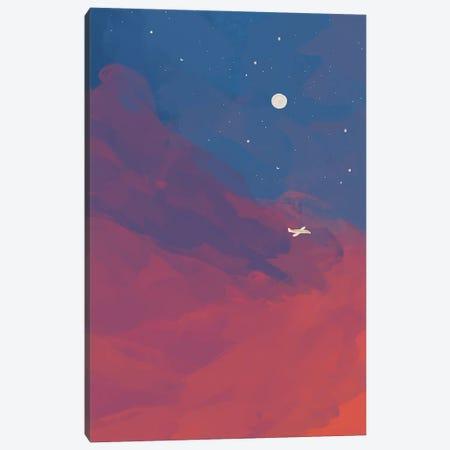 Airplane In Night Sky Canvas Print #MNH11} by Morgan Harper Nichols Canvas Wall Art