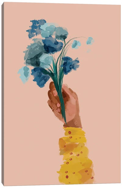 Hand Holding Flowers Canvas Art Print