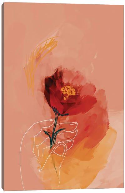Line Drawn Hand Holding Flowers Canvas Art Print